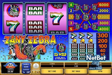 zany zebra игровой автомат